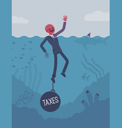 businessman drowning chained with a weight taxes vector image vector image