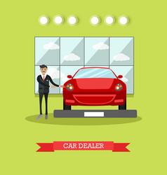 car dealer concept in flat vector image