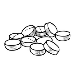 cartoon image of pills icon tablet symbol vector image