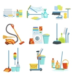 Cleaning household equipment sets vector