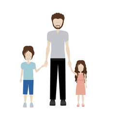 Color silhouette with kids and dad with beard vector