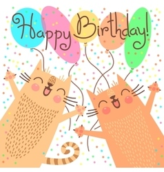 Cute happy birthday card with funny kittens vector image