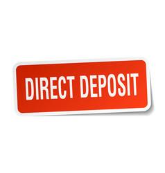 Direct deposit square sticker on white vector