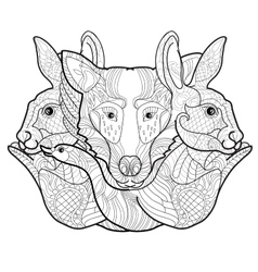 Doodle hand-drawn forest anima vector
