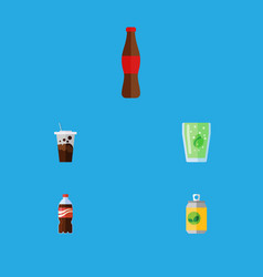 Flat icon soda set of cup beverage carbonated vector