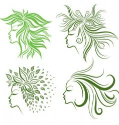 Floral hair vector