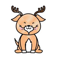 Isolated cute standing deer vector