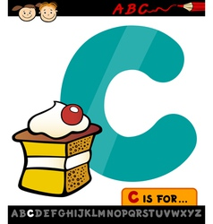letter c with cake cartoon vector image vector image