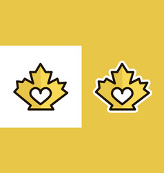 Love maple leaf logo icon sign isolated on an vector