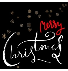 Merry Christmas red and white lettering design on vector image