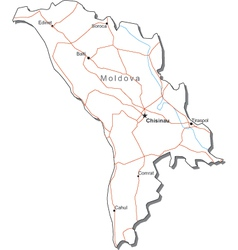 Moldova Black White Map vector image