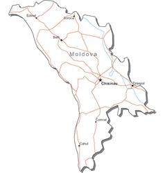 Moldova Black White Map vector image vector image