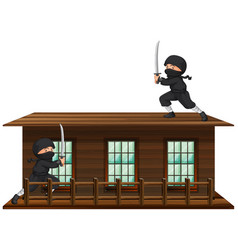 Ninja with sword on the roof vector