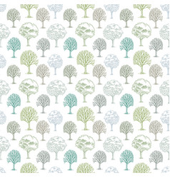 Pattern with trees and bushes on white background vector