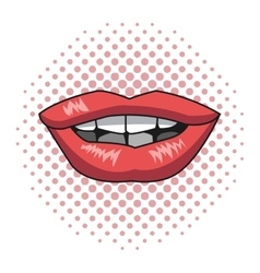 pink lips woman pink dotted background vector image vector image