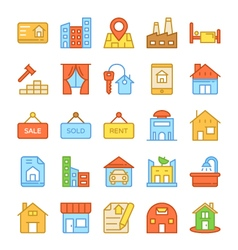 Real estate colored icons 6 vector