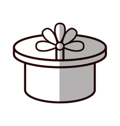round gift box ribbon festive shadow vector image