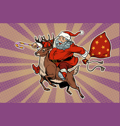 santa claus rides on deer vector image