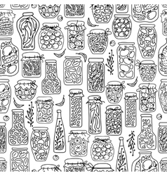 Seamless pattern with pickle jars fruits and vector