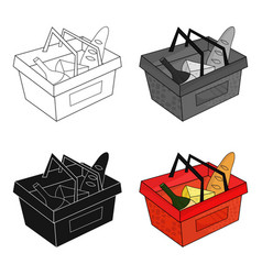 Shopping basket full of groceries icon in cartoon vector