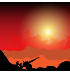 Silhouette cannon and soldiers vector image