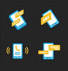 smart phone icons on black background vector image