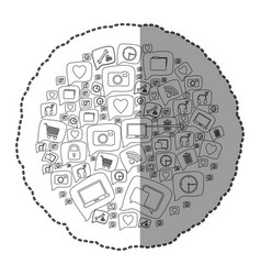 sticker monochrome circular pattern formed by vector image