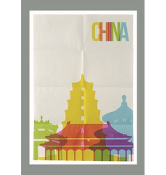 Travel China landmarks skyline vintage poster vector image vector image