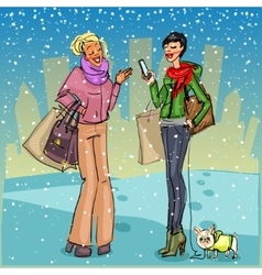 Women with shopping bags phone and dog vector