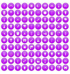100 light source icons set purple vector
