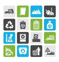 Silhouette garbage cleaning and rubbish icons vector