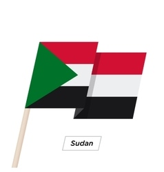 Sudan Ribbon Waving Flag Isolated on White vector image