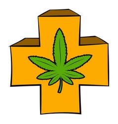 marijuana leaf on a red cross icon cartoon vector image