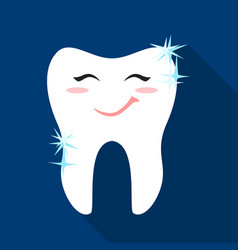 smiling tooth icon in flat style isolated on white vector image