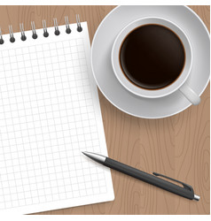 Blank pad of paper pen and coffee vector