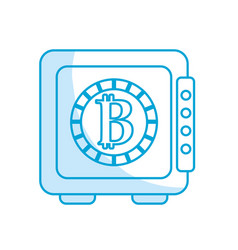 Silhouette strongbox open with bitcoin currency vector