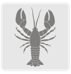 Monochrome icon with lobster vector