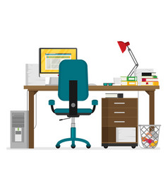 Flat working place vector