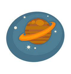 saturn out in space among stars on blue sky vector image