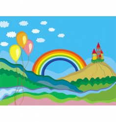rainbow and castle vector image