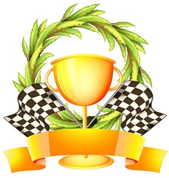 A trophy with an empty label vector image