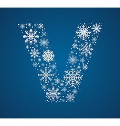 Letter v font frosty snowflakes vector