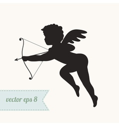 Cupid silhouette icon with bow and arrow vector