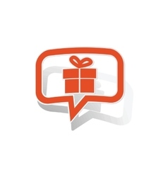 Gift message sticker orange vector