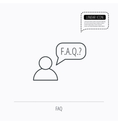 Faq service icon support speech bubble sign vector