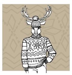 Outline deer in jacquard hat sweaterwinter vector