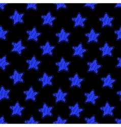 Blue star on black seamless pattern vector