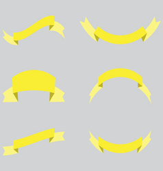 Ribbon decoration yellow color vector