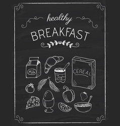 breakfast doodles on the black board vector image vector image