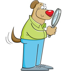 Cartoon dog looking through a magnifying glass vector